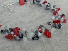 crocheted necklace with coral, moonstone, crystal and others