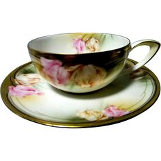 R S Germany Floral Pattern Cup & Saucer from carolines on Ruby Lane