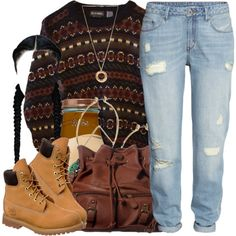 A fashion look from November 2014 featuring H&M jeans, Timberland boots and ANS shoulder bags. Browse and shop related looks.