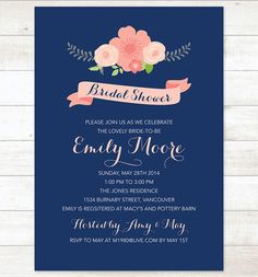 bridal shower invite navy pink flowers by pinkdahliaprintable