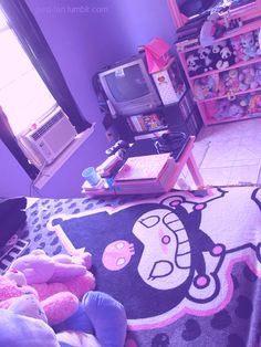 In my opinion, this girls room looks absolutely horrible. There are way too many different and old elements and stuffed animals. I dislike the floor, just like the rest of the room. Cute Room Ideas, Cute Room Decor, My New Room, My Room, Hello Kitty House, Kawaii Bedroom, Otaku Room, Pastel Room, Gamer Room