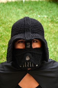 (4) Name: 'Crocheting : Darth Vader Crochet Hat for Adults