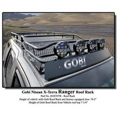 Gobi Nissan Xterra Ranger Roof Rack	2000+ Nissan Xterra  FREE LADDER, FREE WIND DEFLECTOR, FREE ACCESSORY, & FREE SHIPPING!Order this Gobi rack before November 30, 2016 and receive a FREE LADDER, FREE WIND DEFLECTOR, FREE ACCESSORY, and FREE SHIPPING! To receive this special offer, simply tell us which FREE GOBI ACCESSORY you would like in the Comments Section at Checkout and we will add it to your order, along with the FREE LADDER and FREE WIND DEFLECTOR. Important! Do not add the free…