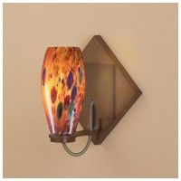 Bruck Lighting 101833 Up/Down Mount Mini Wall Sconce with Red Mosaic Glass Shade from the Ciro Collection