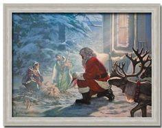 Santa Claus Nativity Jesus Christmas Gift Print Framed:Amazon:Home & Kitchen