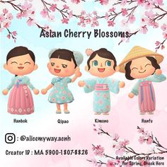 Animal Crossing Pc, Animal Crossing Qr Codes Clothes, Animal Crossing Villagers, Cherry Blossom Outfit, Cherry Blossom Season, Cherry Blossoms, Kleidung Design, Motifs Animal, New Leaf
