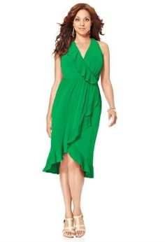 Avenue Plus Size Ruffle Trim Hi Low Dress $19.96