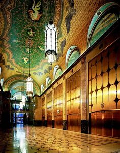 Art Deco lobby of the Fisher Building, Detroit, Michigan. See also: Architecture & Details: Art Deco and Nouveau Architecture Art Nouveau, Amazing Architecture, Art And Architecture, Architecture Details, Wallpaper Art Deco, Art Nouveau Arquitectura, Magic Places, Design Industrial, Estilo Art Deco
