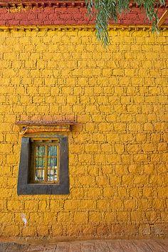 Saffron wall . Tibet