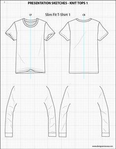 Mens Illustrator Flat Fashion Sketch Templates - Presentation Sketches Tops…