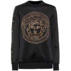 Versace Embellished Long-Sleeve Top ($965) ❤ liked on Polyvore featuring tops, black, versace top, embellished long sleeve top, long sleeve tops, versace and embellished top