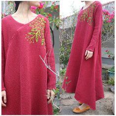 Women spring cotton linen embriodery dress