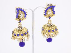 Small Vintage Gold Royal Blue Diamante Kundan Art Amrapali Polki Pearl Stoned…