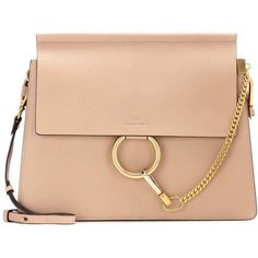 Chloé Faye Leather Shoulder Bag (4 655 BGN) ❤ liked on Polyvore featuring bags, handbags, shoulder bags, beige, chloe handbags, leather shoulder bag, red purse, leather purses and leather shoulder handbags