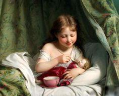 Girl Feeding Her Doll Fritz Zuber-Buhler (1822 – 1896, Swiss)