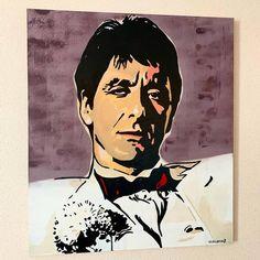 Original Popular culture Painting by Vladislav Druganov Acrylic Artwork, Canvas Artwork, Modern Art Paintings, Original Paintings, Scarface Poster, Mickey Mouse Art, Trippy Painting, Spray Paint On Canvas, Urban Street Art