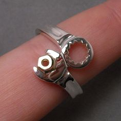 Wrench ring sterling silver with 14k YG nut by DansMagic on Etsy, $175.00