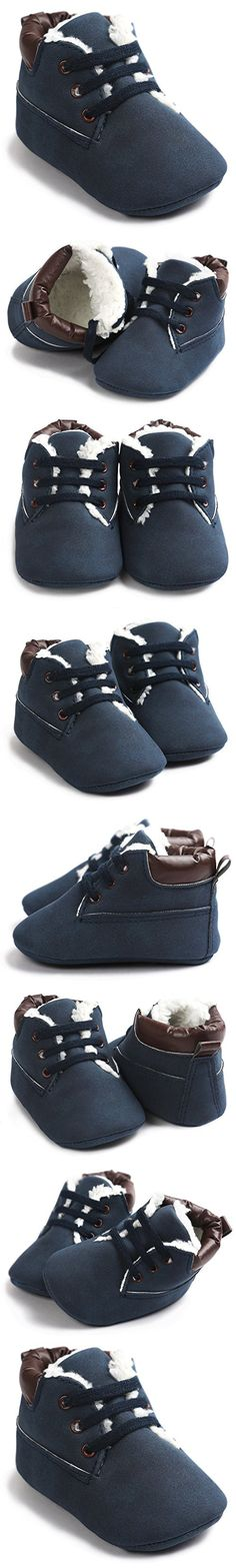 IOO Toddler Baby Boys Girls Snow Boots Warm Leather Sneakers Winter Shoes Easy On Infant Walkers Fur Blue 12