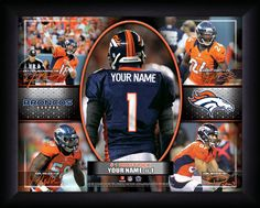 Personalized Denver Broncos Action Collage Framed Picture