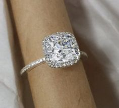 Halo engagement ring cushion cut. Forever by MichaelPatrickHogan, $1150.00