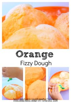 orange fizzy dough recipe for sensory play activity.  Also a simple science experiment for kids on FSPDT