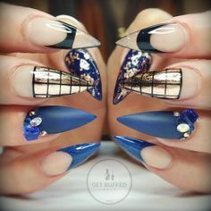 Navy Blue,  Bronze, and Black Stiletto Nails With Rhinestones