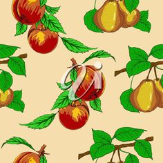 iCLIPART - Seamless Wallpaper #Illustration with Peaches and Pears