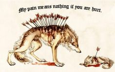 Original art by https://lycanium.deviantart.com/art/Loss-468754170  My pains means nothing if you are hurt.  #love #pain #wordsofwisdom #wolves