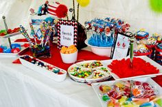 dr seuss twins thing one and thing two twin baby shower dessert table...cute for a kid book themed shower for twins