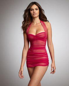 Norma Kamali Mesh Ruched Swimdress on shopstyle.com