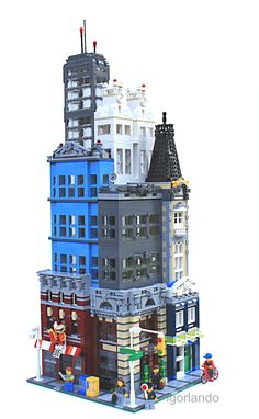 Lego buildings in a cluster.