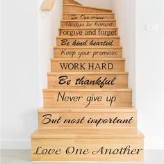 Stair Decals - Home Decals - In this House Wall Decal - Wall Decal - Housewares Vinyl Decal - Home Decor - Family Decals によく似た商品を Etsy で探す House Stairs, House Wall, Home Stairs Design, House Design, Stair Design, Contemporary Stairs, Contemporary Architecture, Contemporary Interior, Painted Stairs