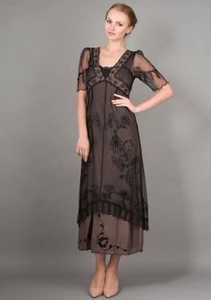 Nataya Titanic Dress, Victorian Style Dress, 40007 Black/Coco (M) #Nataya #TeaDress #Formal