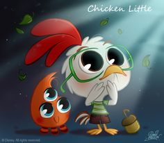Chicken Little CHIBI - walt-disney-characters Fan Art Disney Magic, Disney Pixar, Walt Disney Animation, Disney Films, Disney Fan Art, Disney Dream, Disney E Dreamworks, Classic Disney Movies, Walt Disney Characters