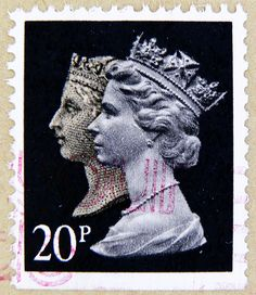 beautiful stamp Machin GB 20p black stamp Queen Victoria and Queen Elizabeth stamp Great Britain England QEII Queen Elisabeth United Kingdom...