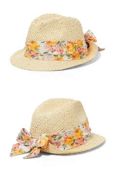 Protect her face from the sun with this 100% paper straw fedora. It features floral ribbon and back bow.  #kidsaccessories #girlaccessories #summeraccessories #afflink
