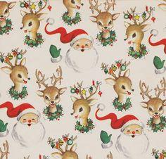 Vintage Christmas Wrap Santa and Reindeer | Flickr - Photo Sharing!