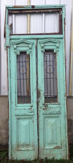"""Antique 1800's Architectural Salvage Large Double Ornate Doors 8' X 64"""""""