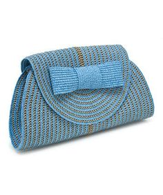 This Magid Turquoise & Gold Bow Clutch by Magid is perfect! Boasting bright, trendy hues and sturdy woven straw, this chic clutch is about smart style. Contrast Ratio: Shop Bazaar's picks for the best shoes and accessories for fall - Alexander McQueen bag Crochet Clutch, Crochet Handbags, Crochet Purses, Women's Handbags, Crochet Bags, Bow Clutch, Purse Patterns, Mixing Patterns, Knitted Bags