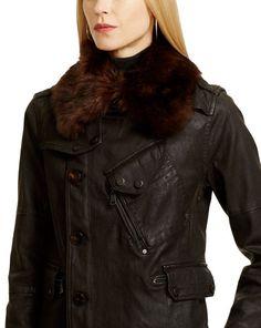 Coated-Denim Jadan Jacket - Outerwear  Women - RalphLauren.com