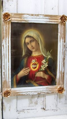 Framed print Sacred Heart of Mary large French by AnitaSperoDesign, $180.00