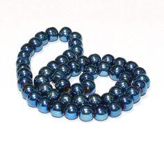 55 x perle electroplate Bleu irisé 6mm, en Verre, Forme ronde -- PVE-0016.4 : Perles en Verre par crehando