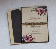 Rustic Wedding Invitation Floral Wedding by LoveofCreating on Etsy