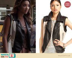 "Emily's black and white leather moto vest and ""rose"" muscle tee on Pretty Little Liars. Outfit Details: http://wornontv.net/18754"