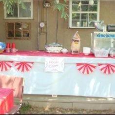 Food Booth:  sno-cones, hot dogs, nachos, popcorn, cotton candy