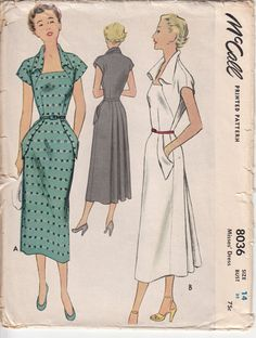 McCalls 8036.  Vintage 50s Sewing Pattern.  Not too sure about the collar wings or the pockets.  But I love the classic lines.