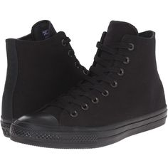 Converse Chuck Taylor All Star II Tencel Canvas - Mono Hi Classic... (100 CAD) ❤ liked on Polyvore featuring shoes, canvas footwear, canvas high tops, black high top shoes, star shoes and black hi tops