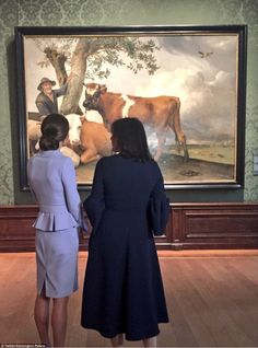 Kate surveying the Dutch masterpiece The Bull by Paulus Potter during a personal tour of t...
