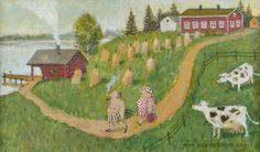 Olavi Hurmerinta: Isäntäväki saunapolulla, 2001, öljy, 24x40 cm - Hagelstam A136