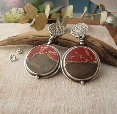 Jasper Earrings. Circle Stone Earrings. by sundownbeaddesigns